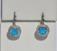 Echt 925 Sterling Silber Ohrringe synth Opal blau Zirkonia earrings Nr 467
