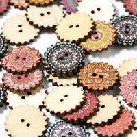 100pcs Boho 2 Holes Round Wooden Button Sewing Wood Scrapbooking DIY Craft 25mm