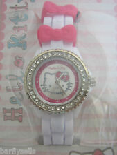 HELLO KITTY Reloj HK018 Oficial Sanrio Cristales De Acero Inoxidable Genuino