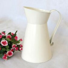 Vintage Shabby  Cream Vase Enamel Pitcher Jug Tall Metal Home Decor Gift