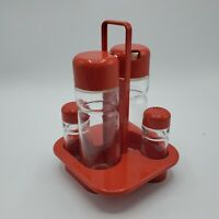 Vintage Valira Glass Salt & Pepper, Oil & Vinegar Set W/ Red Plastic Caddy RETRO