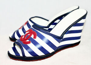 CHANEL CC Wedge Sandal Women Eur 37 Blue White Stripe Leather Red Logo