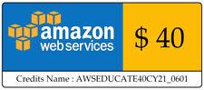 $40 AWS Amazon Web Services VPS Credit Code Lightsail EC2 AWSEDUCATE40CY21_0601