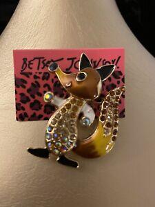 Hot Orange Enamel Fox Crystal Betsey Johnson Charm Brooch Pin 🎁