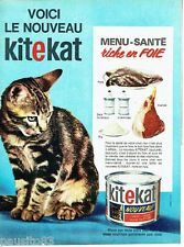 PUBLICITE ADVERTISING 116  1965  Kitekat  patée riche en foie aliment chat menu