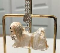 Lhasa Apso Dog Key Chain Austrian Crystals by  Lauren Spencer NEW