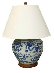 Ralph Lauren Home Large Dragon Chinese Painted Porcelain Table Lamp Rare mu90