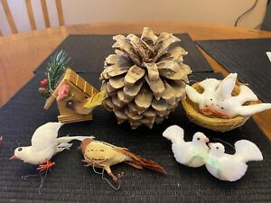 Fake Birds Large Pinecone Feather Bird Home Xmas Tree Ornament Decoration