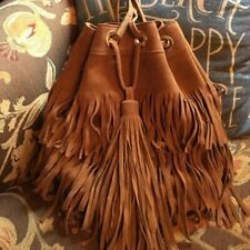 Zara Fringed Suede Bucket Bag Boho Hippie M Festival