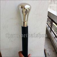 Silver Brass Nickel Handle Antique Men's Cane Wooden Walking Stick Vintage Gift