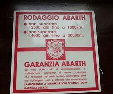 ADESIVO FIAT ABARTH RODAGGIO GARANZIA FIAT 500 600 595 695 SS 850 1000 TC A112