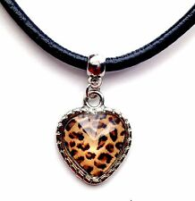 Leather Choker Charm Necklace Vintage Hippy Retro Black Cord Leopard Brown Heart