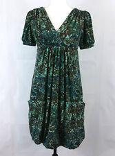 Eliza J Womens Dress Size 8 Floral Bubble Hem Slouchy Jersey V-Neck Pockets