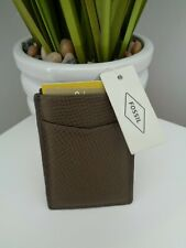 Fossil Walton Magnetic Olive Leather Card Holder Money Clip Wallet with RFID