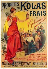 VINTAGE WINE ART PRINT: PRODUITS DE KOLAS FRAIS TAUZIN Bordeaux Bar Poster 28x40