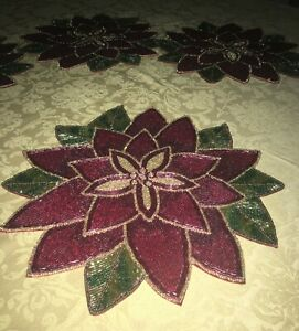 """SET OF 4 CHRISTMAS POINSETTIA GLASS BEADED PLACEMATS 15"""" DIAMETER*NWT*FREE SHIP!"""