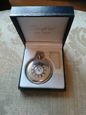 J. W. Benson half hunter pocket watch 1935 solid silver in Associated Box