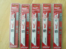 """25 NEW MILWAUKEE 48-00-5184  6""""LONG 18TPI SAWZALL BLADES IN FACTORY PACKAGES"""