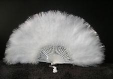 "MARABOU FEATHER FAN - WHITE Feathers 12"" x 20"" Burlesque/Wedding/Bridal/Show"