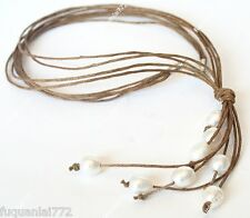 """New 9-10mm Cultured Freshwater White Pearl Brown Hemp Rope Necklace 21"""""""