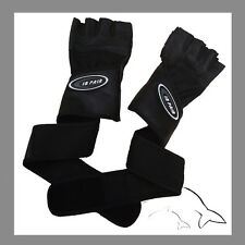 QUALITY Leather gym gloves sz L -- weight lifting cycling Extra Long Strap #A003
