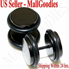 "2089 Black Fake Cheaters Illusion Faux Plugs 16G Surgical Steel 7/16"" 11mm Large"