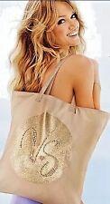 Victoria's Secret Studded Sparkle Gold VS Logo Canvas Tote Bag Tan NWT Shimmer