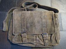 XL Brown Distressed Leather Rare Fossil Brand Messanger/Shoulder/Book Bag