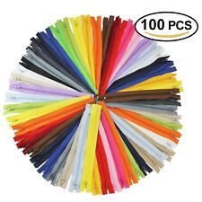 100Pcs 9 Inch Nylon Coil Zippers Bulk for Sewing Crafts Assorted Colors