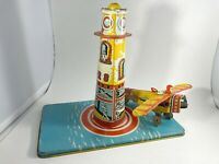 Vintage 1930s Unique Art MFG Co Sky Rangers Tin Litho Tower Plane Partial Parts