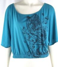 L8ter Green Casual Stretch Butterfly Batwing Dolman Knit Top Juniors Medium 7 9