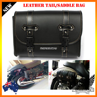 Black motorcycle PU leather side saddle tail luggage bag tool pouch Harley SUZUK