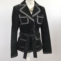 NEXT Ladies Jacket Black Suede Belted Uk 12 Leather Smart Short Coat Exc Cond.