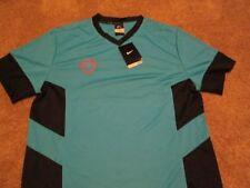 Brand New Mens Nike Dri Fit Futbol S/s Blue/Black Breathable Lg Free Shipping