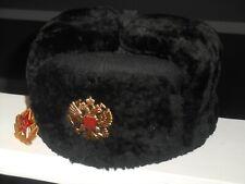 Soviet Russian Navy Black Sheepskin Winter Ushanka Fur Hat Cap 55
