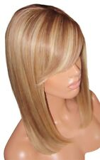 "Human Hair Wig Glueless Front Lace 14"" Brown Blonde 6 613 Silk Top Fringe Moklox"