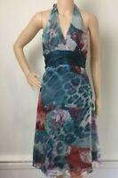 Mossman Silk Watercolour Party Halter Neck Dress / Size 10