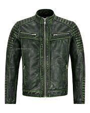 Men's Racer Leather Jackets Green Vintage 100% Cowhide Classic Biker style 2565