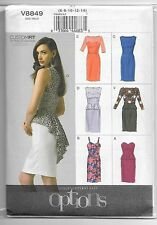 Vogue V8849 6-14 Sewing Pattern 7 Dresses Tuxedo Back