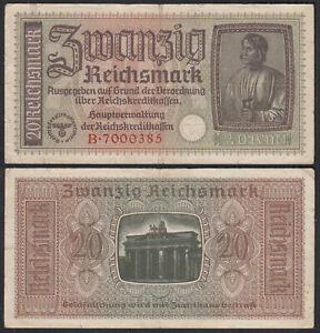 GERMANY 20 Mark WW2 1939-44 Occupation Nazi Money 3.Reich Pick R139    (29362