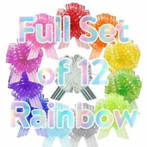 Set of 12 30mm Organza Rainbow Pull Bows - Multicolour Assorted Pack