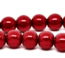 10mm CHRISTMAS RED Round Glass Pearl Beads 40 beads bgl0471