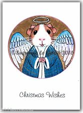 NEW PACK OF 6 GUINEA PIG ANGEL PAINTING GLITTER CHRISTMAS CARDS SUZANNE LE GOOD