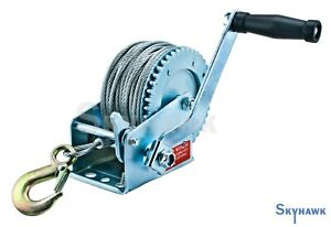 1200lb Boat Winch w/ 65ft Steel Cable w/ 2-Speed 4:1 Gear Hand Crank Tow RV ATV