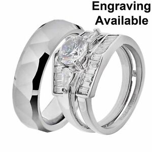 His & Hers Stainless Steel Round CZ Wedding Ring Sets Tungsten Men Band GL