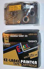 Genuine Casio EZ Label Printer Cartridge KR-12GD1 gold tape black ink 12 mm