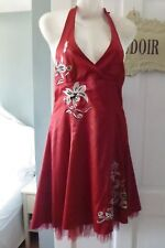 *NEW*BEAUTIFUL RED SATIN EMBROIDERED DRESS FIT SIZE 14 HALTER NEW KDK LONDON**