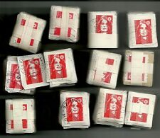 11 Bundles of 90-100 stamps, La Poste Française 1000 to 1100 stamps on paper