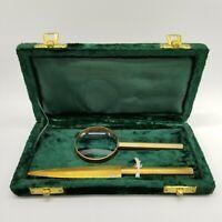 Vintage Brass Envelope Opener And Magnifying Glass In Green Velvet Case
