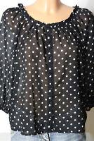 H&M Bluse Gr. S schwarz-weiß 3/4-Arm Chiffon Polkadot Pünktchen Bluse